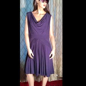 Vince Camuto Navy Blue Dress Cowl Neck Large